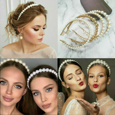 Women's Pearl Headband Hair Clips Bride Tiara Alice Hair Band Wedding Headwear