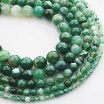 Natural Green Striped Agate Loose Beads Making Jewelry 15 inches Charm Healing