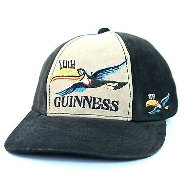 Guinness Stout Beer Black Strapback Hat 100% Pig Suede Leather Toucan Pinwheel