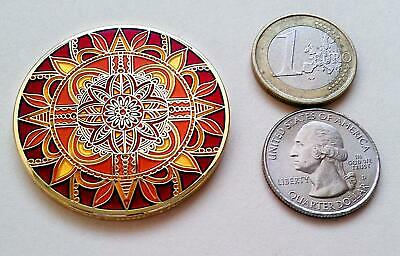 ~ Nature Compass Rose geocoin Gold unactivated trackable