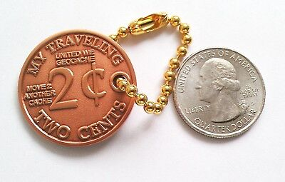 ☆ 2 cents Geocoin Unactivated Trackable Traveling