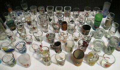 (62) vintage SHOT GLASS LOT / COLLECTION States-Places-Ships-More! ALL LISTED!