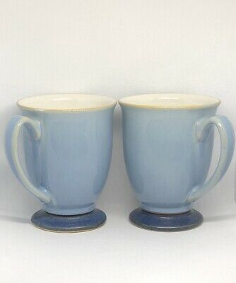Denby Langley Blue Jetty Pedestal Mug Coffee Tea Cup Made In England Lot Of 2