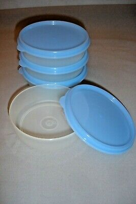Set of 4 Tupperware Little Wonders Bowls ~ Sheer with Light Blue Seals ~ 6 oz