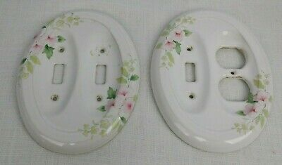 Light Switch Cover Plates 2 Oval White/Pink/Green Porcelain/Ceramic never used