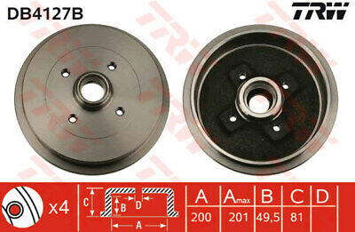 SKODA PICK UP 6U 1.3 Brake Drum Rear 97 to 02 200mm TRW 191501615A 1H0501615A