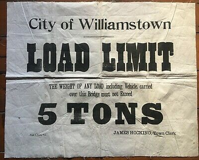 Vintage 1930's fabric sign WILLIAMSTOWN COUNCIL By-Laws Melbourne
