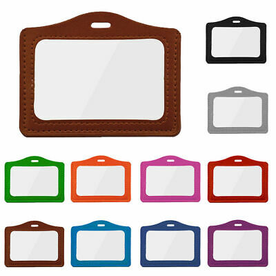 ID Badge Office Students Holder Card Case Horizontal Double-sided Transparent
