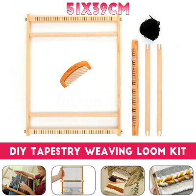 Wooden Weaving Loom Tapestry Knitting Machine Play Toy Kids DIY Craft Kits AU