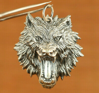 100% 925 Silver Hand Carved wolf head Statue Pendant Netsuke gift decorate