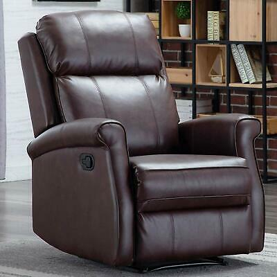 Manual Recliner Chair Overstuffed Back Leather Seat Lounge Sofa Living Roo Brown