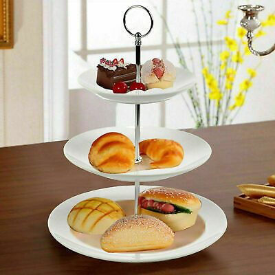 3 Tier White Ceramic Cake Stand Cupcake Stand Food Stand Platter Display Rack UK