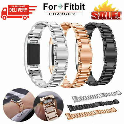 Fitbit Charge 2 Watch Strap Wrist Band Solid Stainless Steel Crystal Classic New