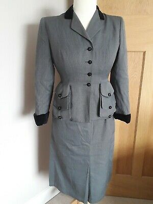 1940s Grey and Black Checked Suit