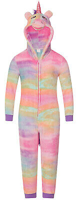 Girls Novelty 3D Unicorn Hooded All In One Pyjamas Winter Fleece Dress Up PJs