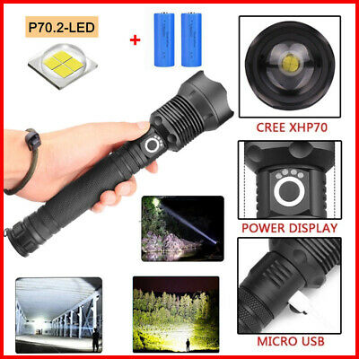 XHP70 Tactical Super Bright LED Flashlight Rechargeable Zoomable Torch Lamp USA