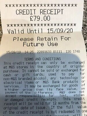 marks and spencers credit voucher  £79.00