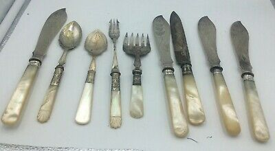 Antique Victorian Silver Plate And Mother Of Pearl Serving Pieces Nine In All