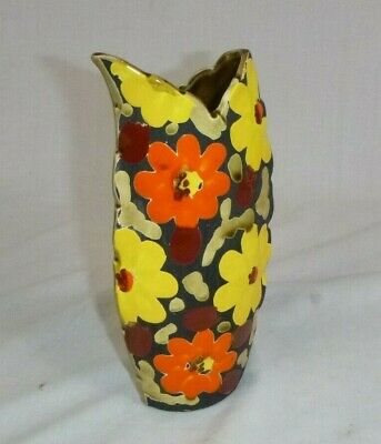 Vtg Mid Century Tilso MOD Ceramic Floral Design Vase Orange Yellow Green Japan