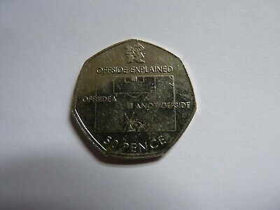 "2011 Olympic 50p coin. Football Offside Rule Explained."" MisStrike "" Circulated"