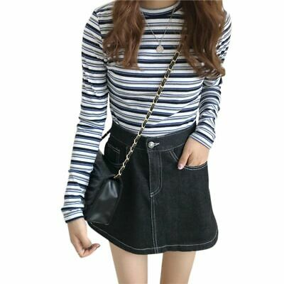 Striped Pattern Women's Knit Tops Fashion Slim Round Neck Korean Style T-shirts