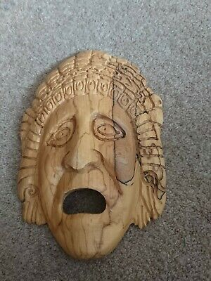 Carved Hard Wood Face Wall Mask - Asian/Australian