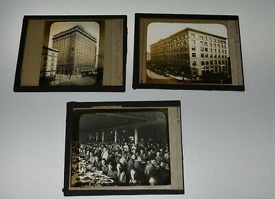 ASAHEL CURTIS SEATTLE Glass Slides x3 HOTEL WASHINGTON COLMAN SKINNER + EDDY