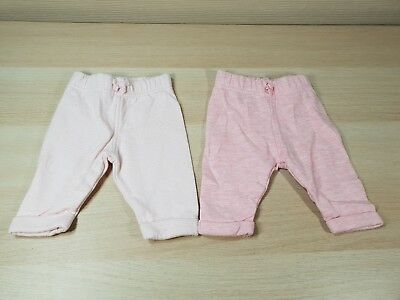 George 2x Baby Girls Jogging Bottoms Pink & Striped First Size 9lb 50-56cm VGC