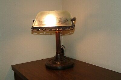 Antique Bronze Bankers Lamp Frosted W/ Ornate Embossed Floral Glass Shade Desk
