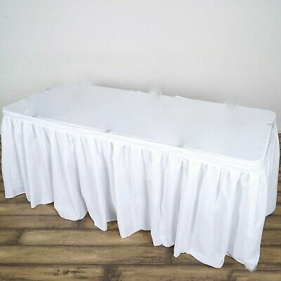 """Pack of 6 x Polyester Pleated Table Skirt White 14ft (172"""") Event Wedding Party"""