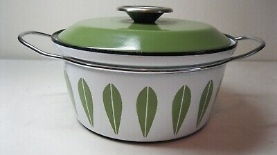 Vintage Mid Century Catherineholm 3Qt Lotus Enamel Pot Covered Casserole Norway