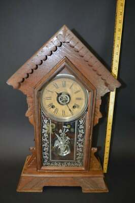 Ornate Antique Ansonia Clock Co. Mantel Pendulum Clock with key