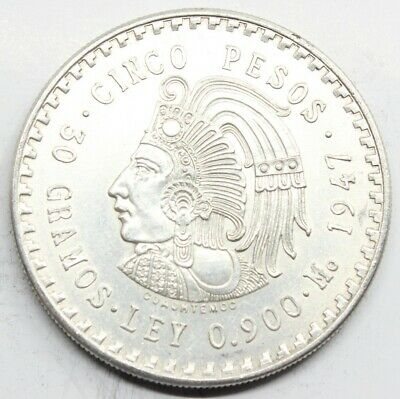 Mexico 1947 Indio Cinco 5 Pesos Moneda Plata Sc
