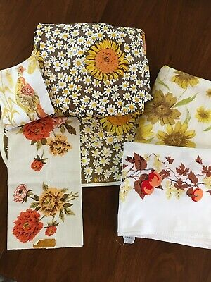 Vntg Fall Tablecloth/Linen Dishtowel Lot Vera Nuemann Wilendure Sunflower Birds