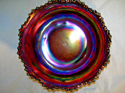 """Northwood """"Grape and Cable Thumbprint"""". Large Bowl. Antique Carnival Glass. #1"""