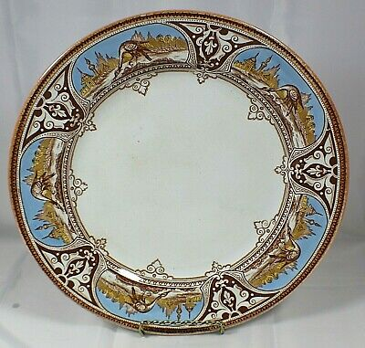 Antique 19th Century BW & Co. England Poonah Pattern 10 1/2 Inch Plate