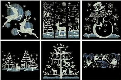 Christmas Silhouettes  EMBROIDERED  10 QUILT BLOCKS Adorable Set
