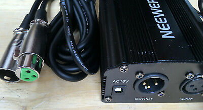 Neewer NW-100 48V Phantom Power Supply with UK Mains Adapter and XLR Audio Cable