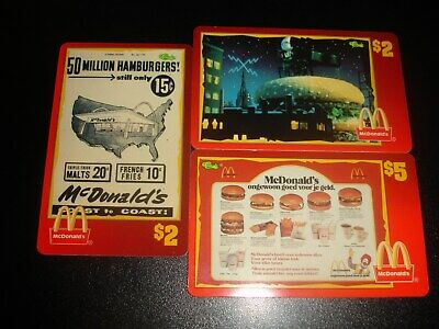 1996 Classic/Sprint McDonald's $2 $5 Phone Cards Special lot of 3
