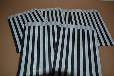 """50 x Black & White Candy Stripe Paper Bags 5"""" x 7"""" Pick and Mix Bags"""
