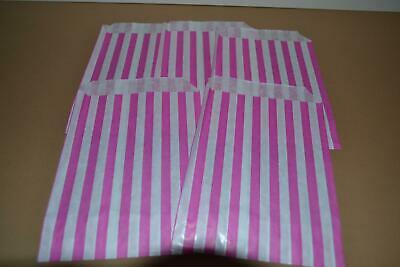 """50 x Pink & White Candy Stripe Paper Bags 5"""" x 7"""" Pick and Mix Bags"""
