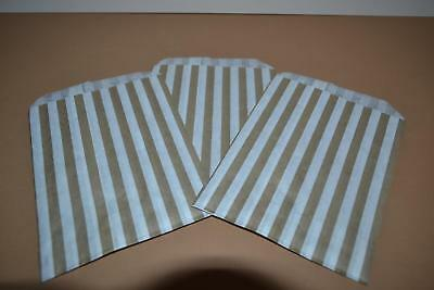 """50 x Gold & White Candy Stripe Paper Bags 5"""" x 7"""" Pick and Mix Bags"""