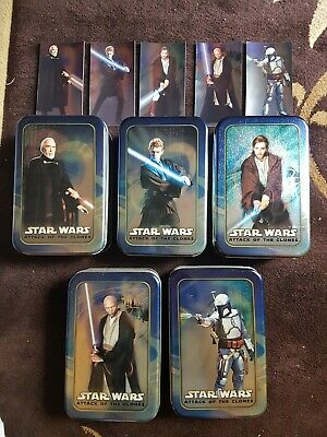 Star Wars: Attack of The Clones trading card tins + foil cards
