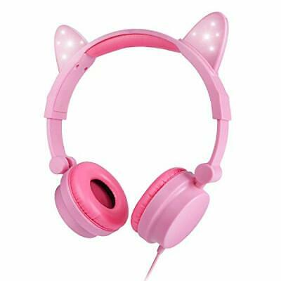Hyx Kids Headphones Wired On-Earby Cats For Children Led Backlight