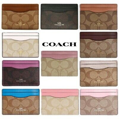 NWT COACH Signature Canvas Card Case Wallet Classic Pink Black Blue White F63279