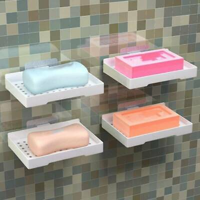 Home Punch free Wall-Mounted Strong Sucker Soap Dish Holder Storage Shelf Tray S