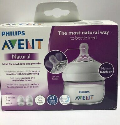 Philips Avent BPA Free Natural Anti-Colic 2oz Baby Bottle - 2 Pack New
