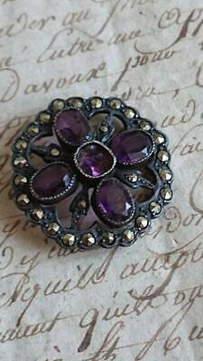 SWEET ANTIQUE FRENCH SILVER AMETHYST & MARCASITE HATPIN TOP c1900
