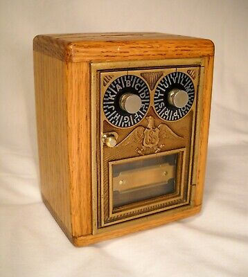 Bank Vintage Post Office Box Door Bank & Red Oak Wood  a