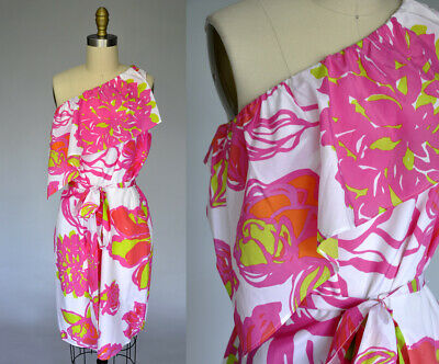 LILLY PULITZER Pink White Floral Silk One Shoulder Ruffle Summer dress SZ 10
